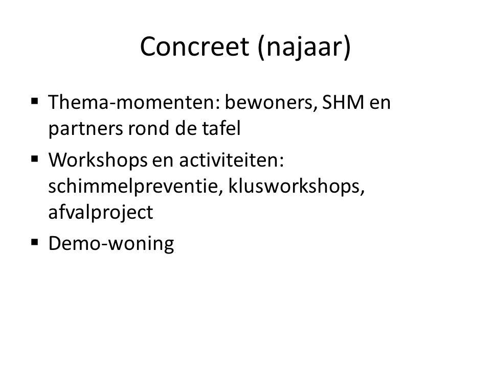Concreet (najaar) Thema-momenten: bewoners, SHM en partners rond de tafel. Workshops en activiteiten: schimmelpreventie, klusworkshops, afvalproject.