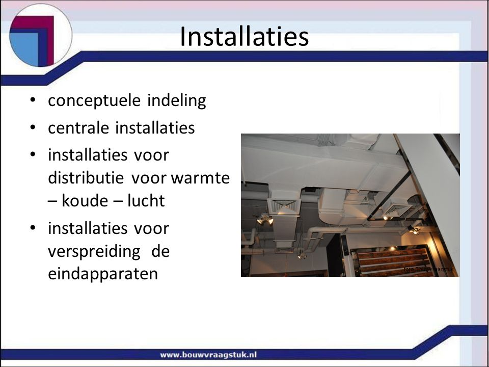 Installaties conceptuele indeling centrale installaties