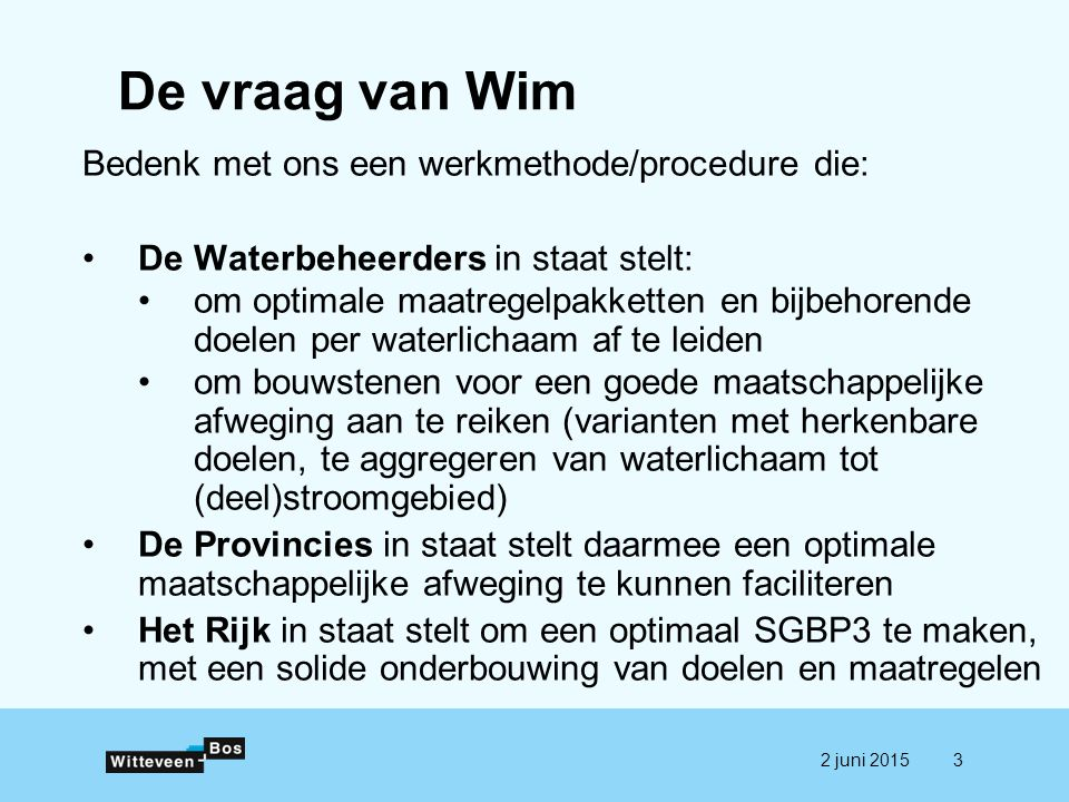 De vraag van Wim Bedenk met ons een werkmethode/procedure die: