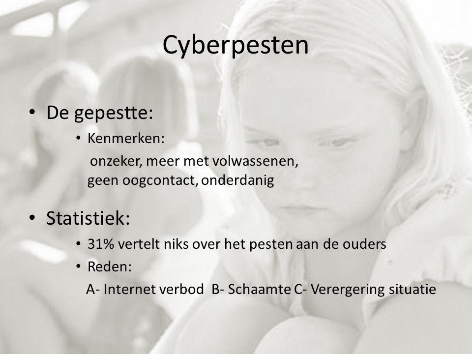 Cyberpesten De gepestte: Statistiek: Kenmerken:
