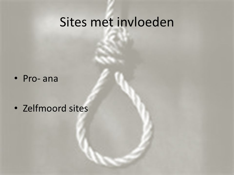 Sites met invloeden Pro- ana Zelfmoord sites