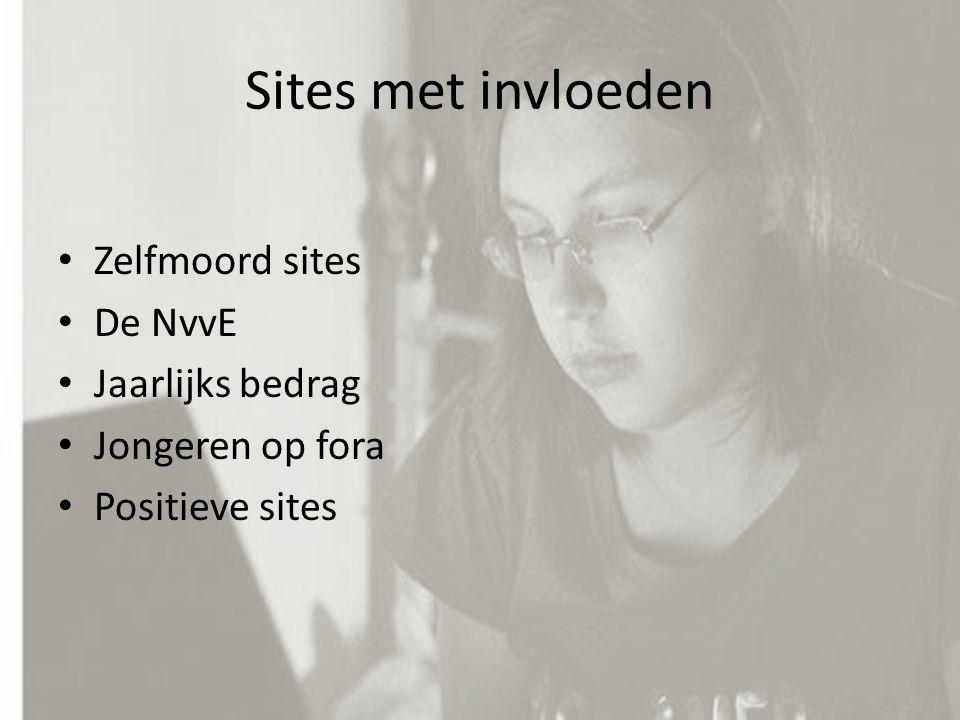 Sites met invloeden Zelfmoord sites De NvvE Jaarlijks bedrag