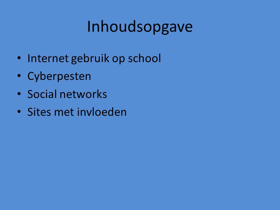 Inhoudsopgave Internet gebruik op school Cyberpesten Social networks