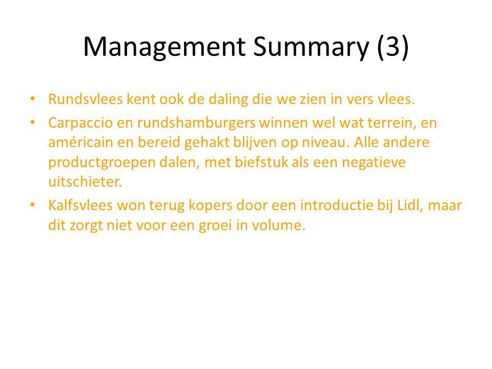 Management Summary (3) Rundsvlees kent ook de daling die we zien in vers vlees.