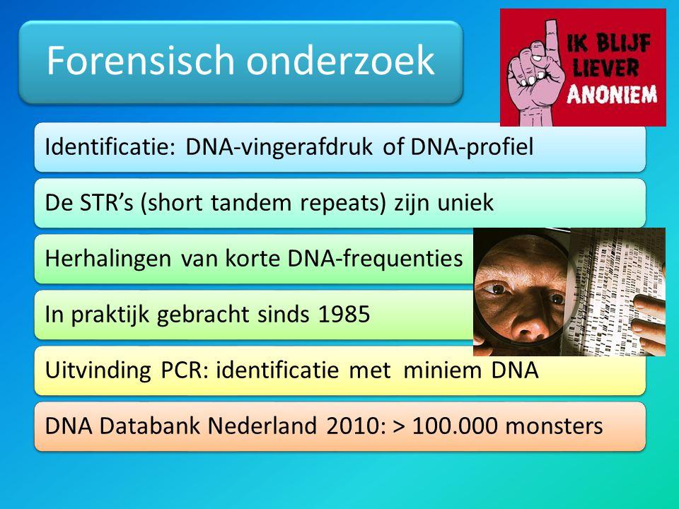 Forensisch onderzoek Identificatie: DNA-vingerafdruk of DNA-profiel