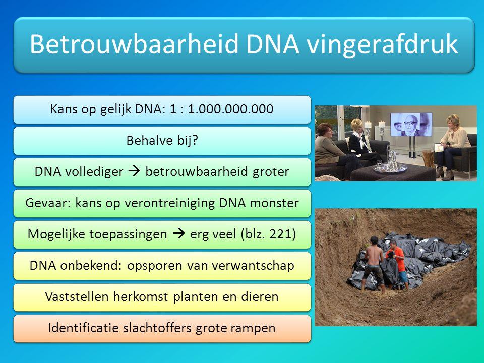 Betrouwbaarheid DNA vingerafdruk