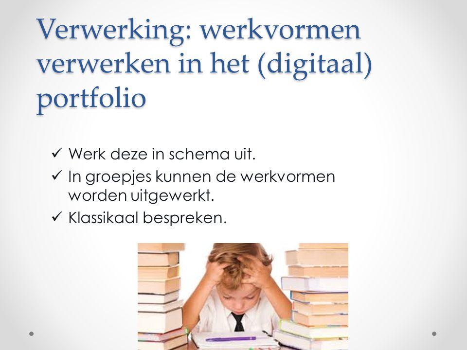 Verwerking: werkvormen verwerken in het (digitaal) portfolio