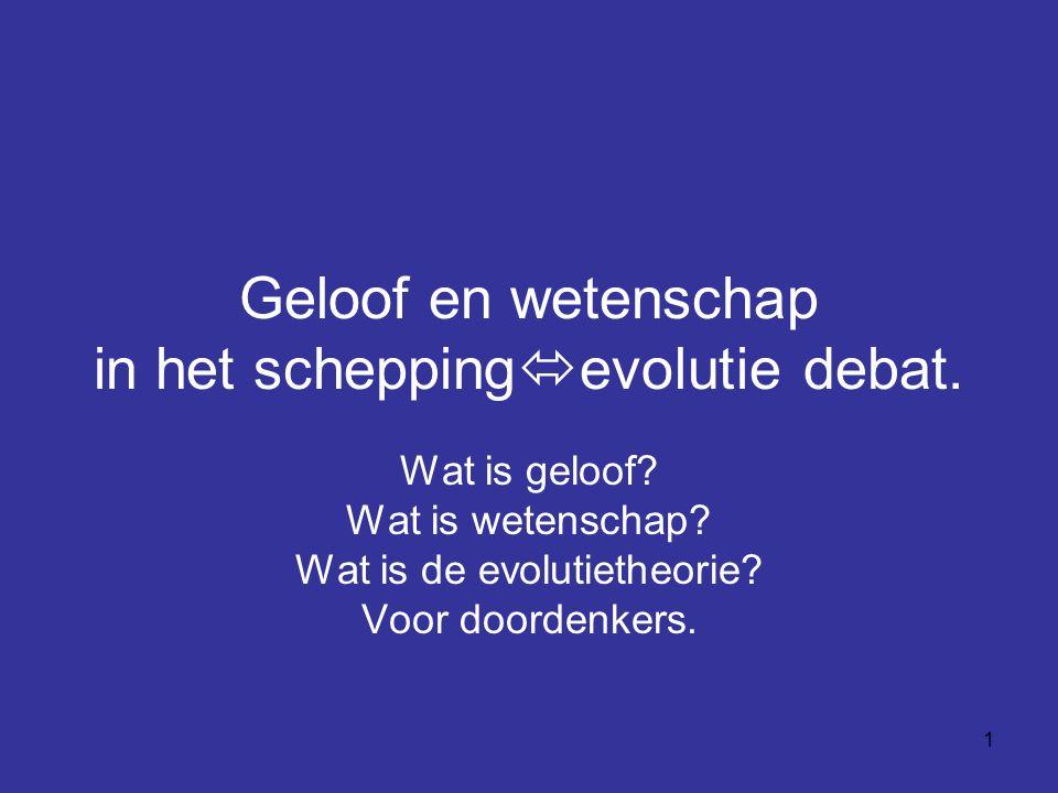Geloof en wetenschap in het scheppingevolutie debat.