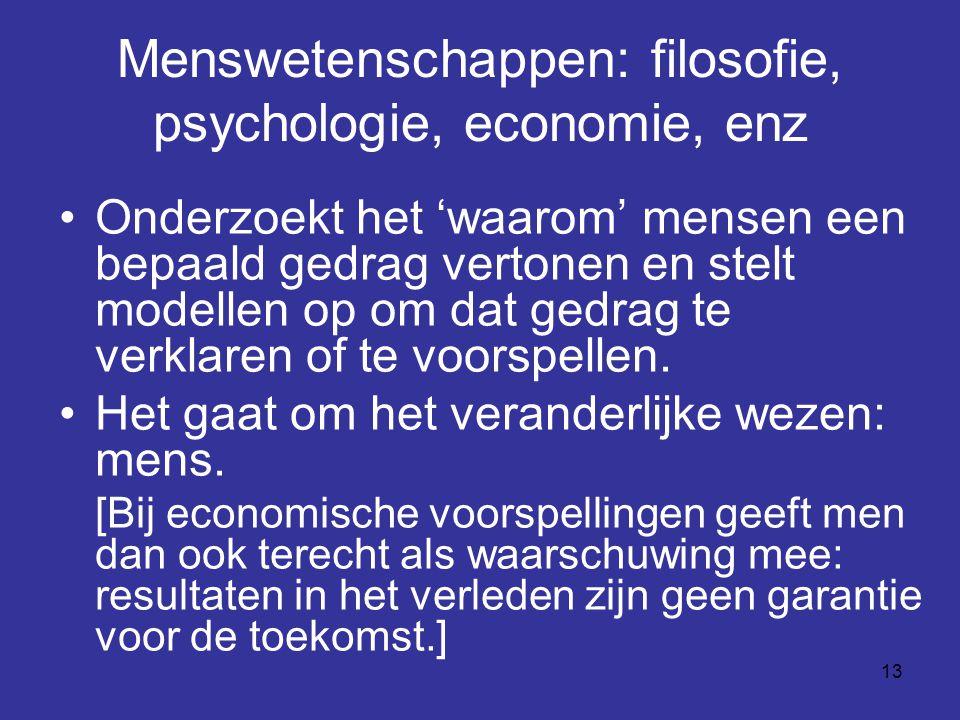 Menswetenschappen: filosofie, psychologie, economie, enz
