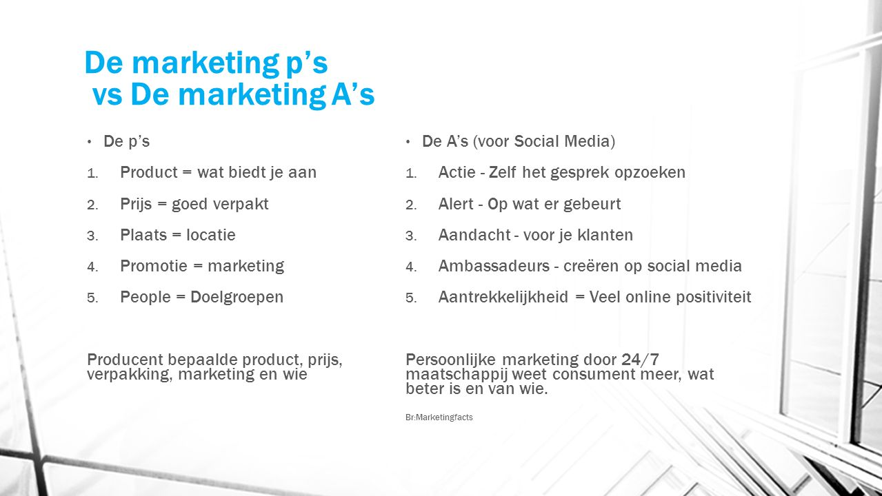 De marketing p's vs De marketing A's