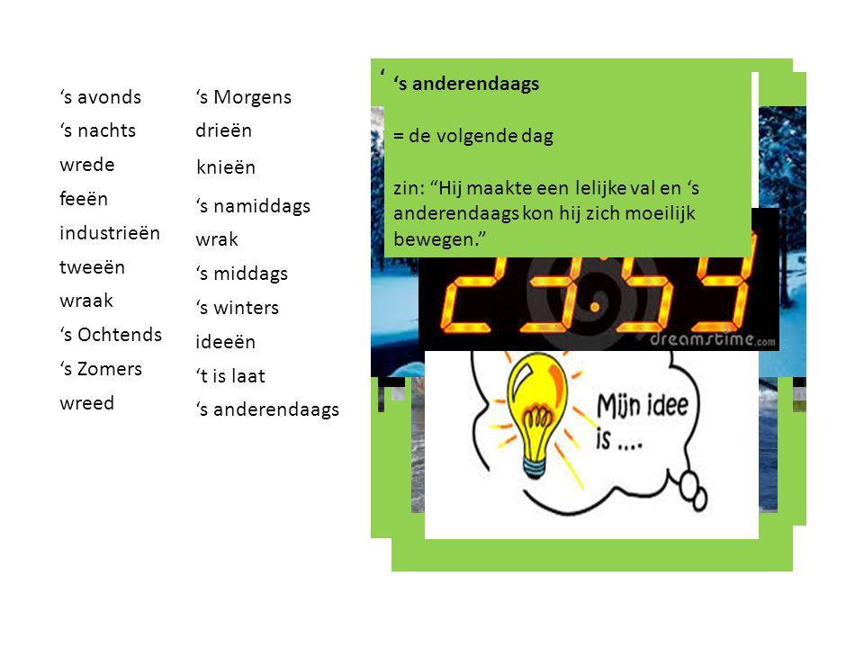 's avonds = deel van de dag na de middag en voor de nacht, tussen ongeveer 18.00 uur en 00.00 uur. Zin: 's Avonds gaat de zon onder.