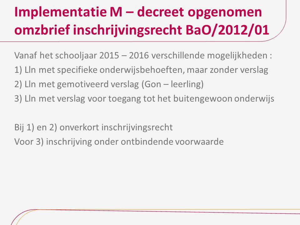 Implementatie M – decreet opgenomen omzbrief inschrijvingsrecht BaO/2012/01