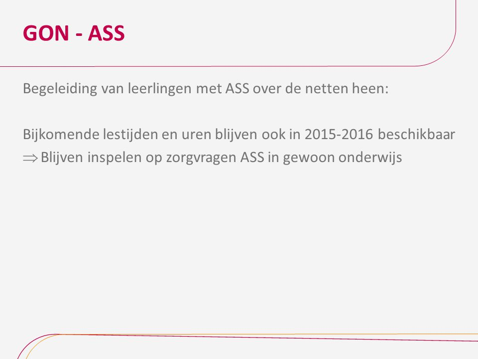 GON - ASS Begeleiding van leerlingen met ASS over de netten heen: