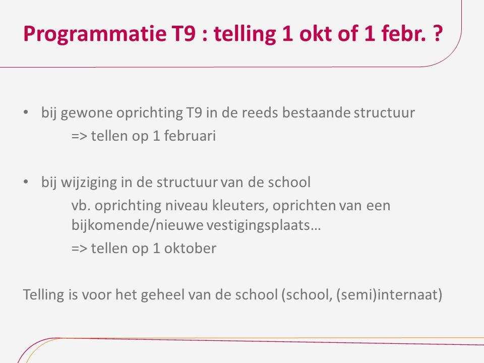 Programmatie T9 : telling 1 okt of 1 febr.