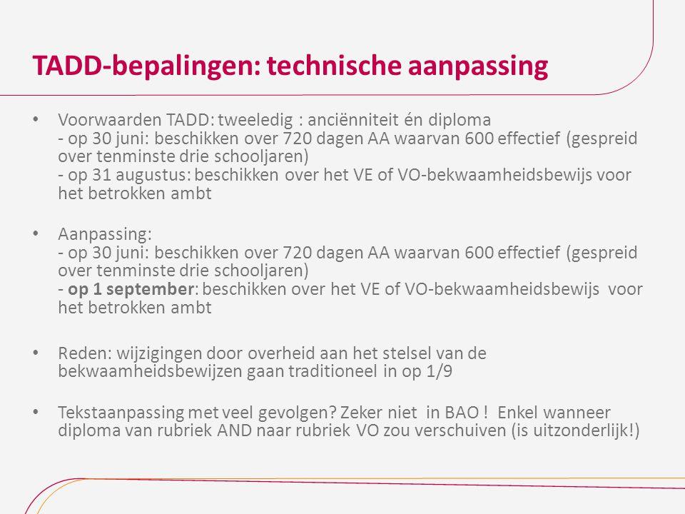 TADD-bepalingen: technische aanpassing