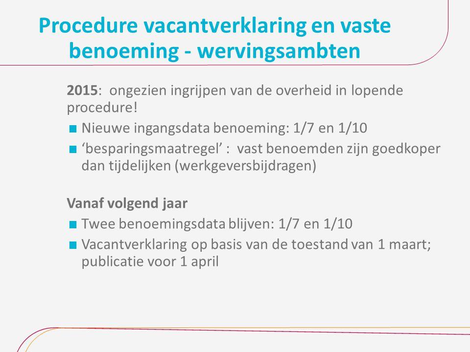 Procedure vacantverklaring en vaste benoeming - wervingsambten