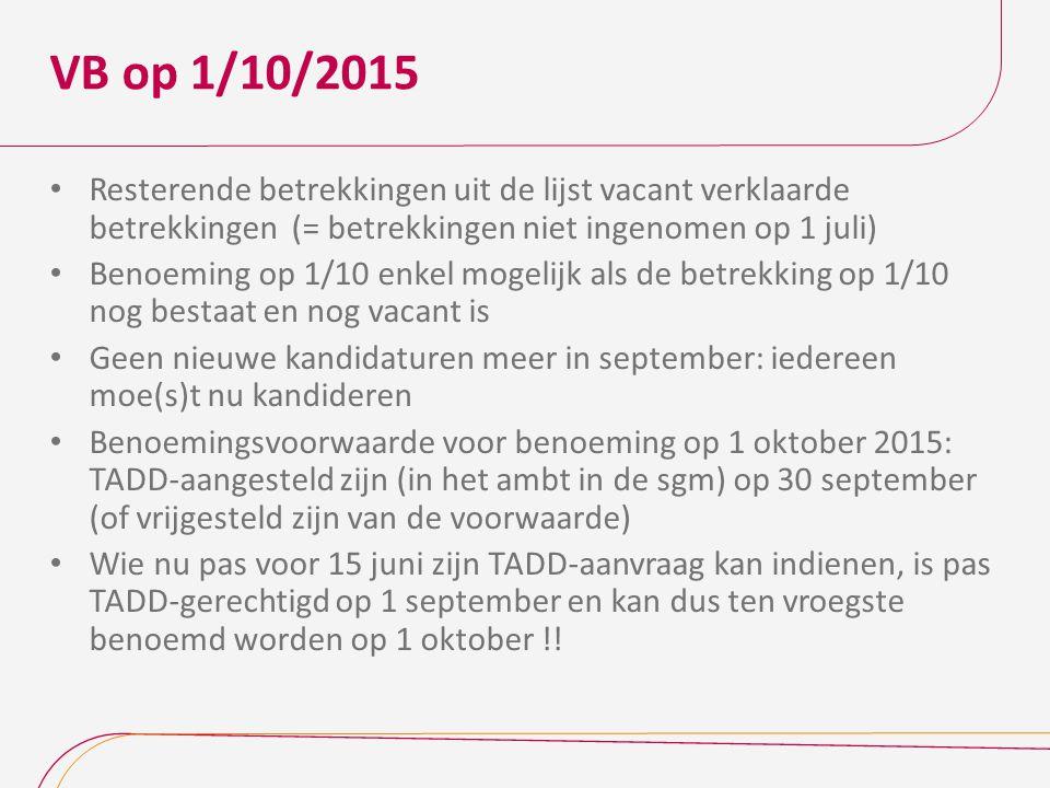 VB op 1/10/2015 Resterende betrekkingen uit de lijst vacant verklaarde betrekkingen (= betrekkingen niet ingenomen op 1 juli)