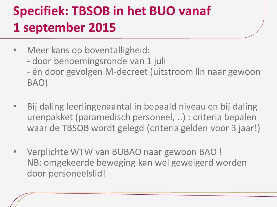 Specifiek: TBSOB in het BUO vanaf 1 september 2015
