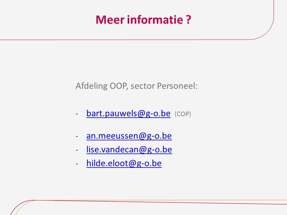 Meer informatie Afdeling OOP, sector Personeel: