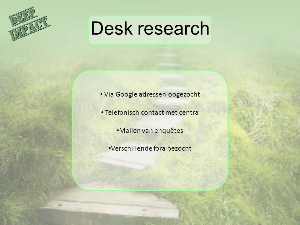 Desk research Via Google adressen opgezocht