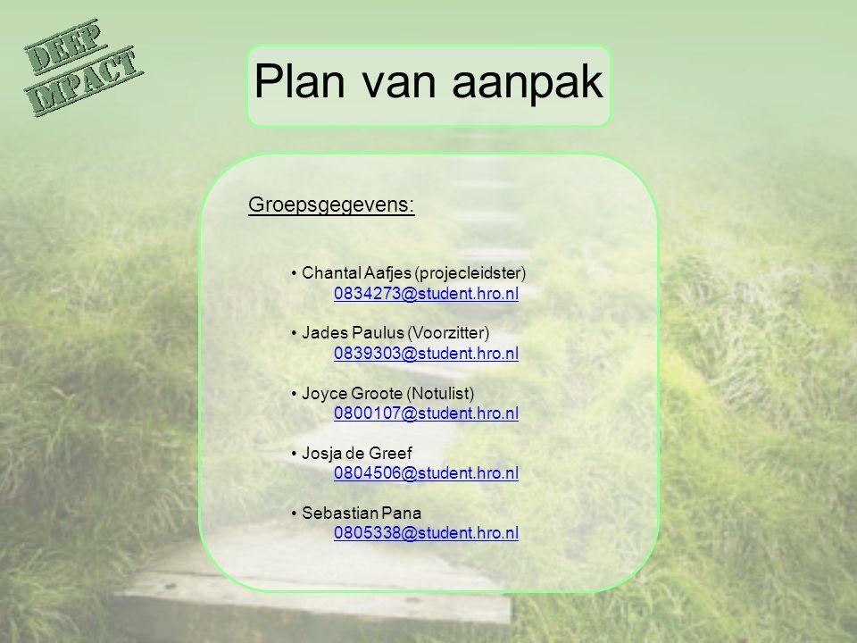Plan van aanpak Groepsgegevens: Chantal Aafjes (projecleidster)