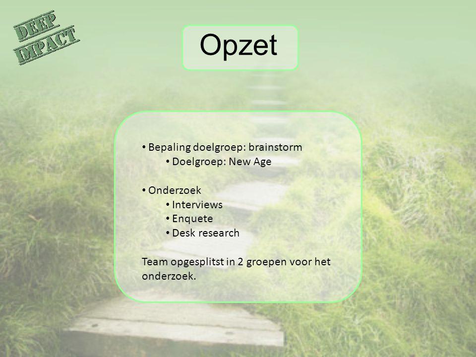 Opzet Bepaling doelgroep: brainstorm Doelgroep: New Age Onderzoek