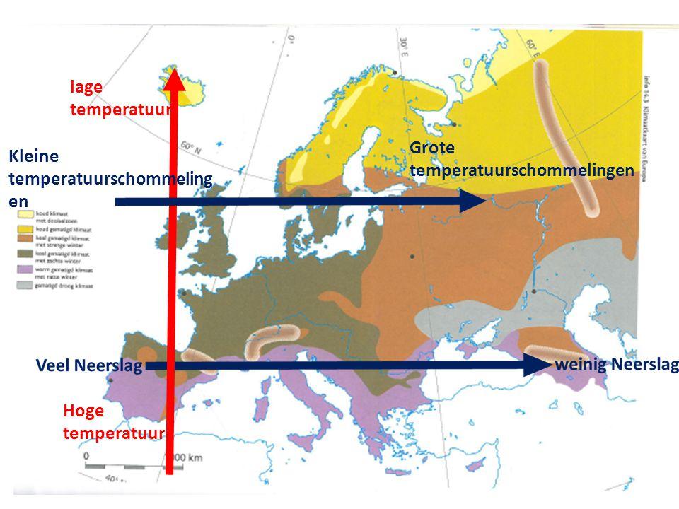 lage temperatuur Hoge temperatuur Kleine temperatuurschommelingen Grote temperatuurschommelingen