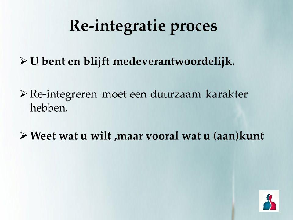 Re-integratie proces U bent en blijft medeverantwoordelijk.