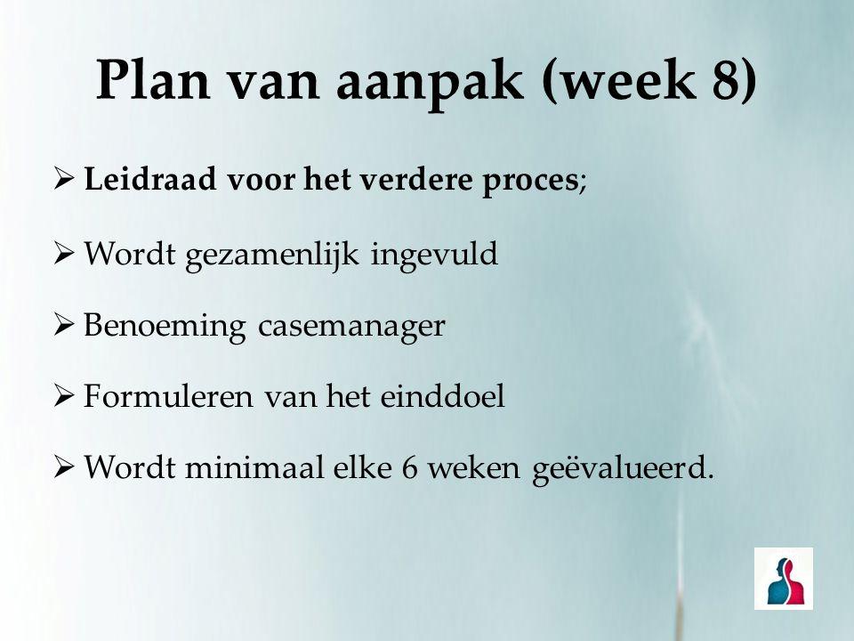 Plan van aanpak (week 8) Leidraad voor het verdere proces;