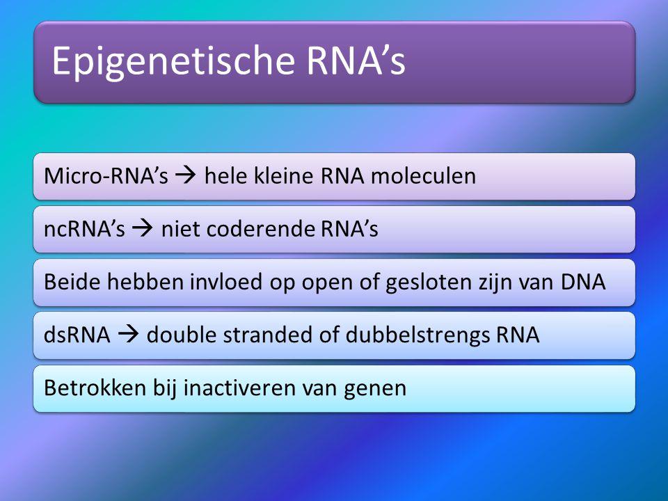 Epigenetische RNA's Micro-RNA's  hele kleine RNA moleculen
