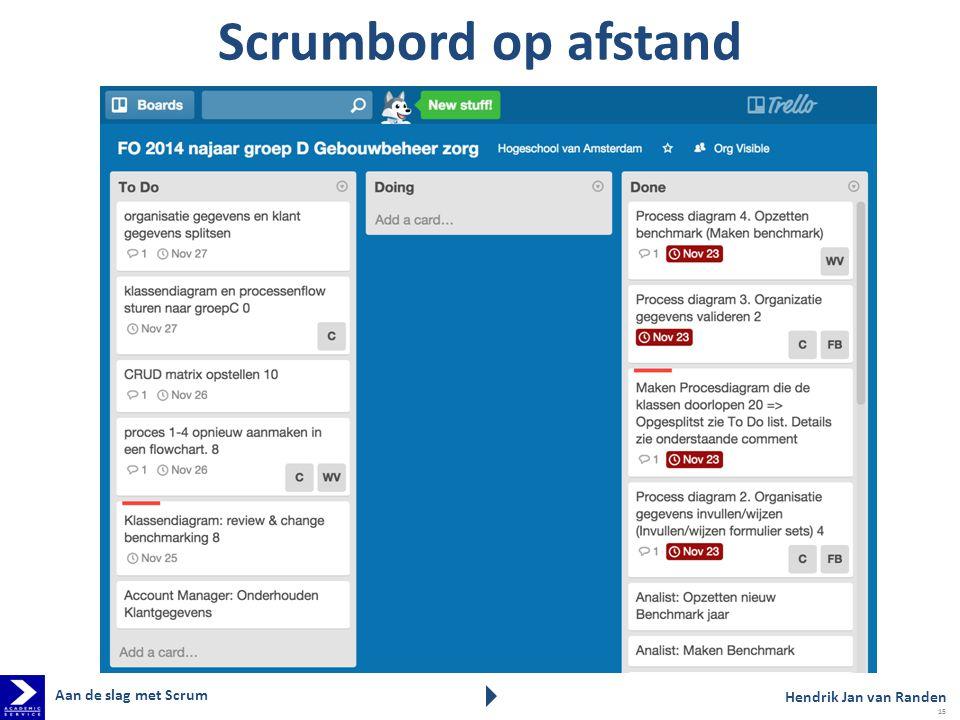 Scrumbord op afstand Aan de slag met Scrum Hendrik Jan van Randen