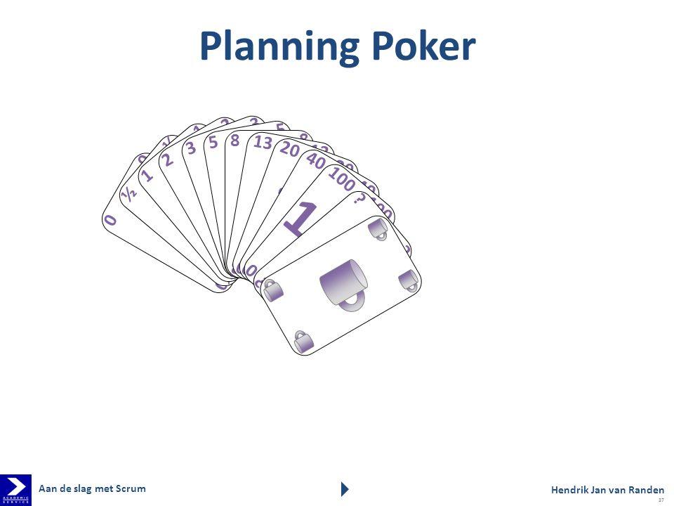 2 3 5 1 8 ½ 13 20 100 Planning Poker 40 Aan de slag met Scrum
