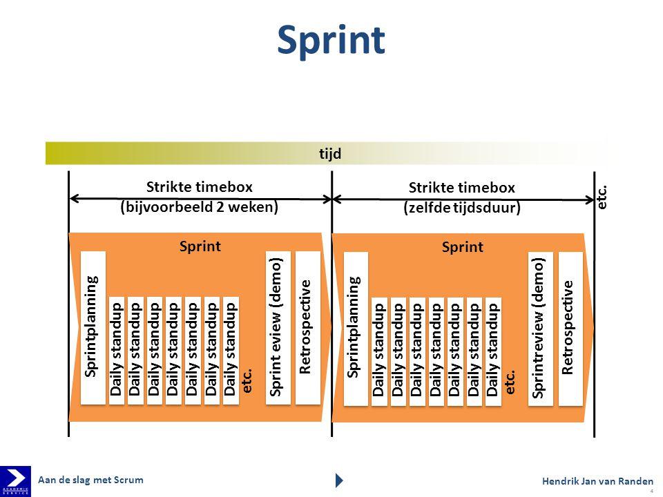 Sprint etc. tijd Strikte timebox (bijvoorbeeld 2 weken)