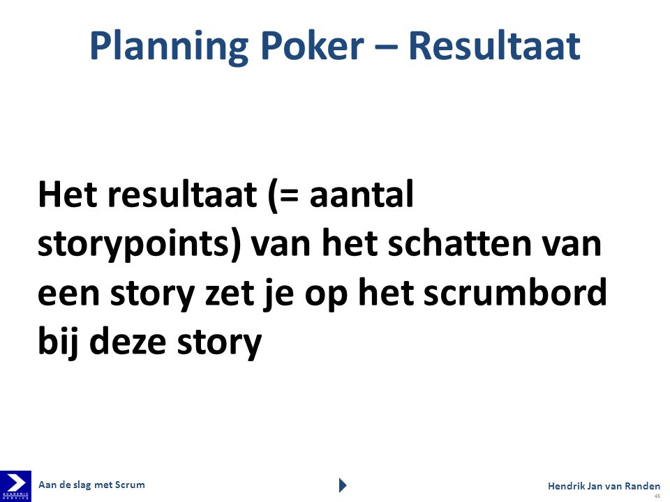 Planning Poker – Resultaat