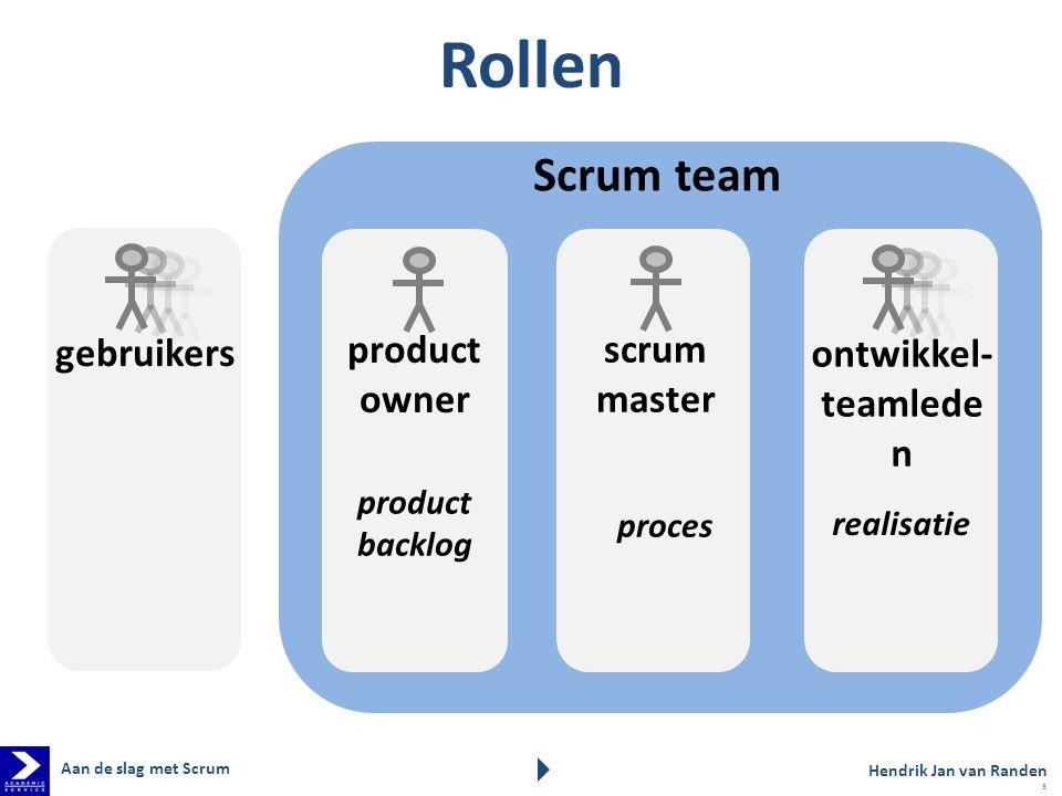 Rollen Scrum team gebruikers product owner scrum master