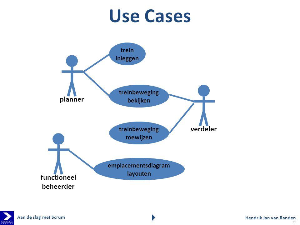 Use Cases planner verdeler functioneel beheerder trein inleggen