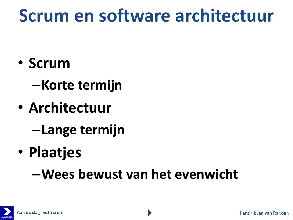 Scrum en software architectuur