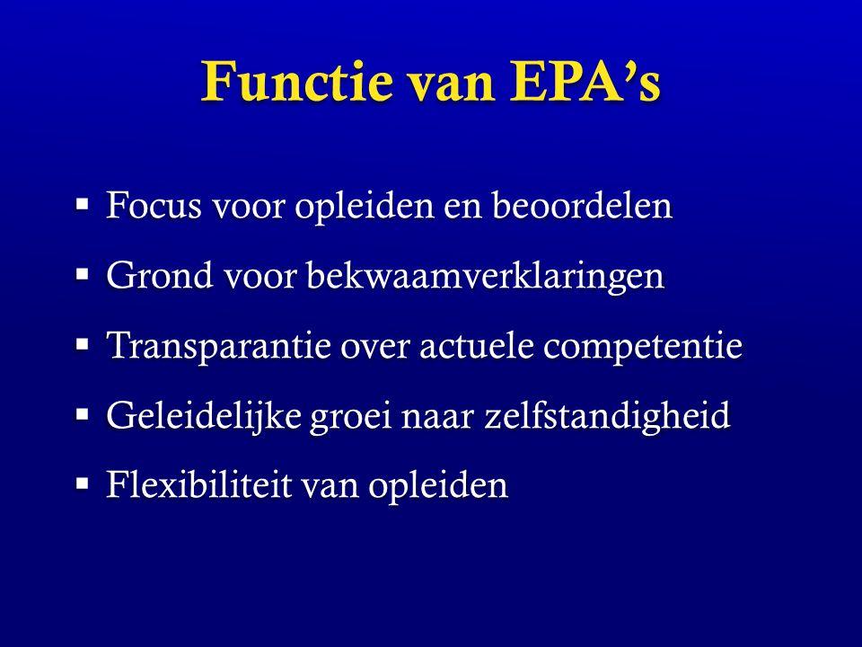 Functie van EPA's Focus voor opleiden en beoordelen