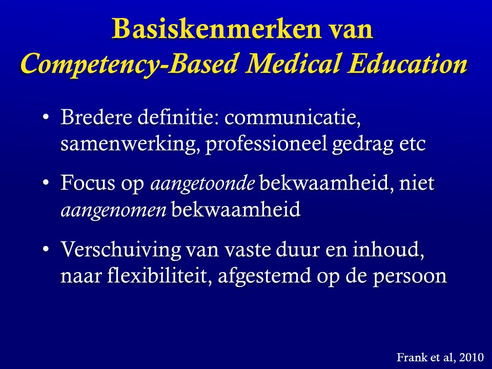 Basiskenmerken van Competency-Based Medical Education