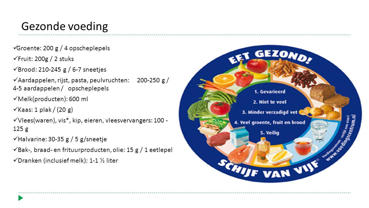 Gezonde voeding Groente: 200 g / 4 opscheplepels Fruit: 200g / 2 stuks