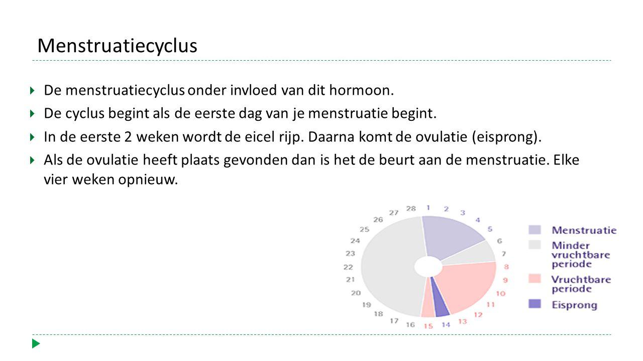 Menstruatiecyclus De menstruatiecyclus onder invloed van dit hormoon.
