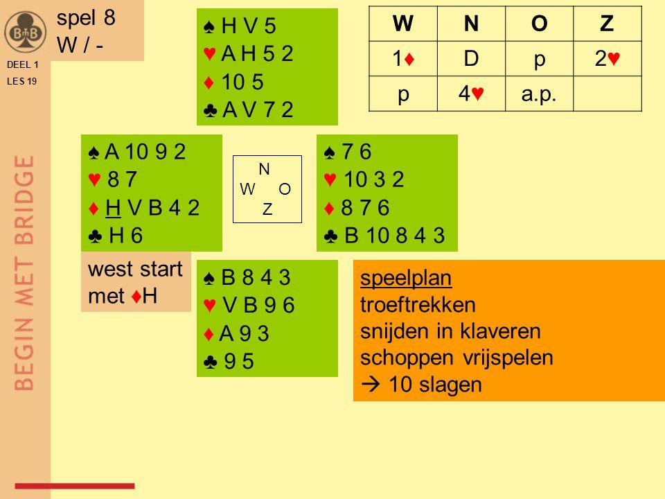 spel 8 W / - ♠ H V 5 ♥ A H 5 2 ♦ 10 5 ♣ A V 7 2 W N O Z 1♦ D p 2♥ 4♥
