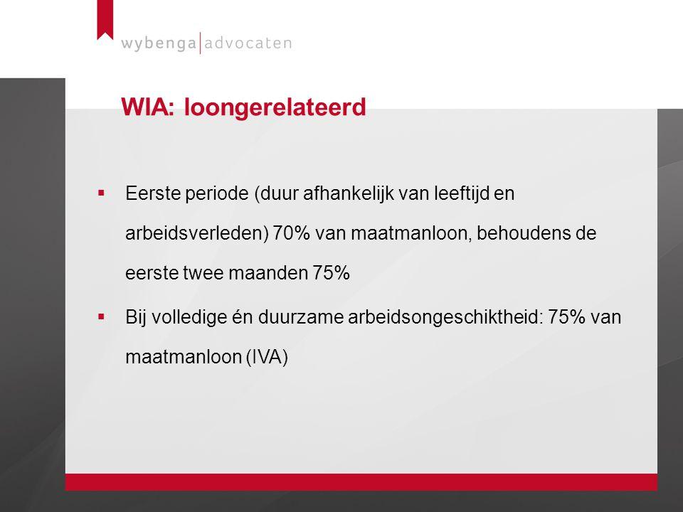 WIA: loongerelateerd Eerste periode (duur afhankelijk van leeftijd en arbeidsverleden) 70% van maatmanloon, behoudens de eerste twee maanden 75%
