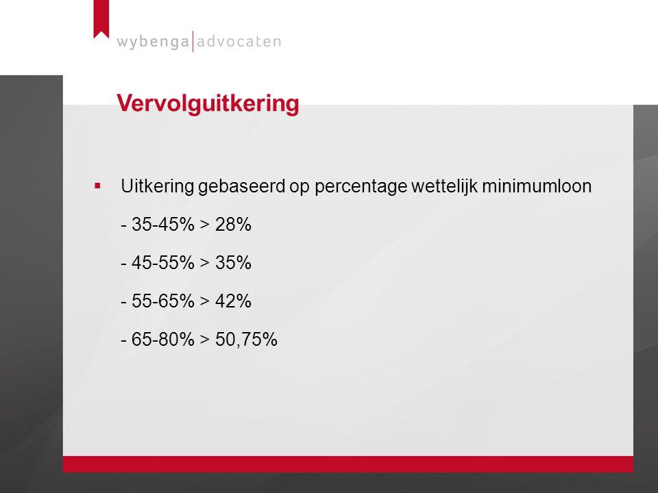 Vervolguitkering Uitkering gebaseerd op percentage wettelijk minimumloon - 35-45% > 28% - 45-55% > 35% - 55-65% > 42% - 65-80% > 50,75%