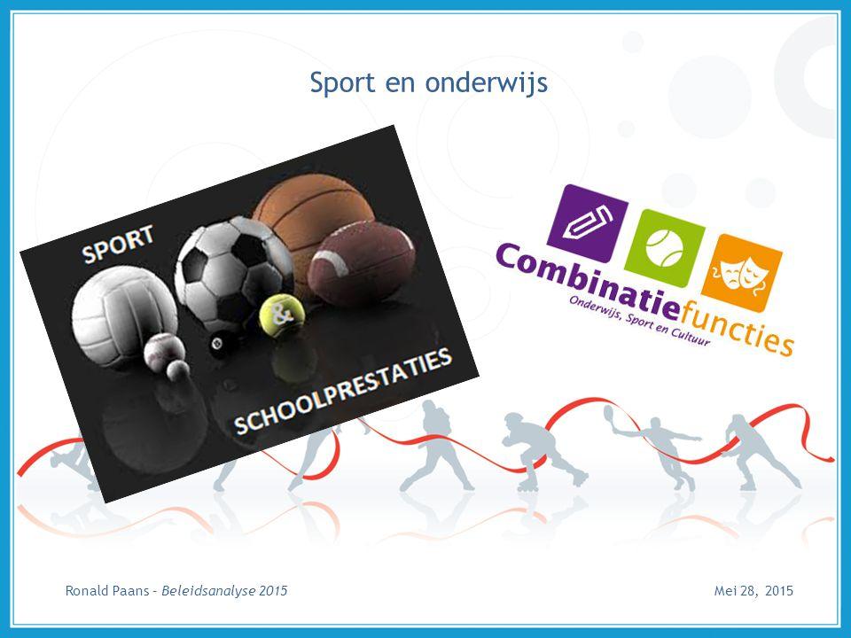 Sport en onderwijs Ronald Paans – Beleidsanalyse 2015 Mei 28, 2015