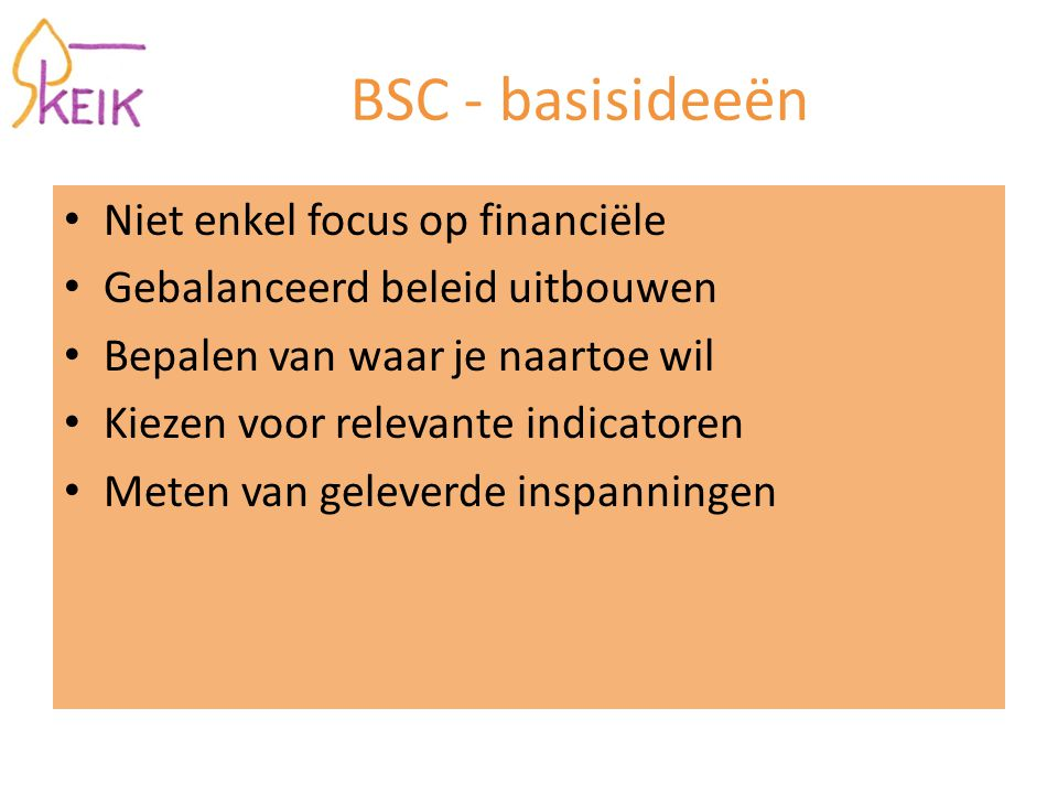 BSC - basisideeën Niet enkel focus op financiële