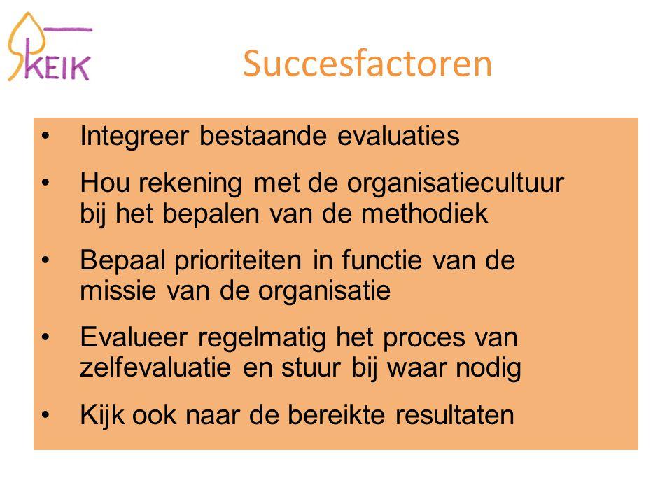 Succesfactoren Integreer bestaande evaluaties