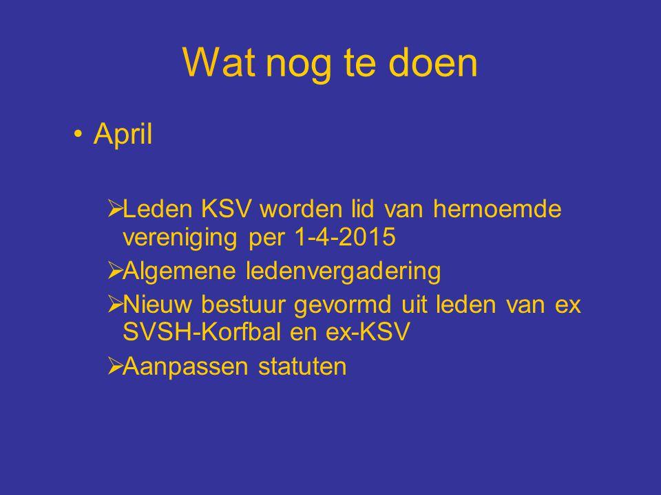 Wat nog te doen April. Leden KSV worden lid van hernoemde vereniging per 1-4-2015. Algemene ledenvergadering.