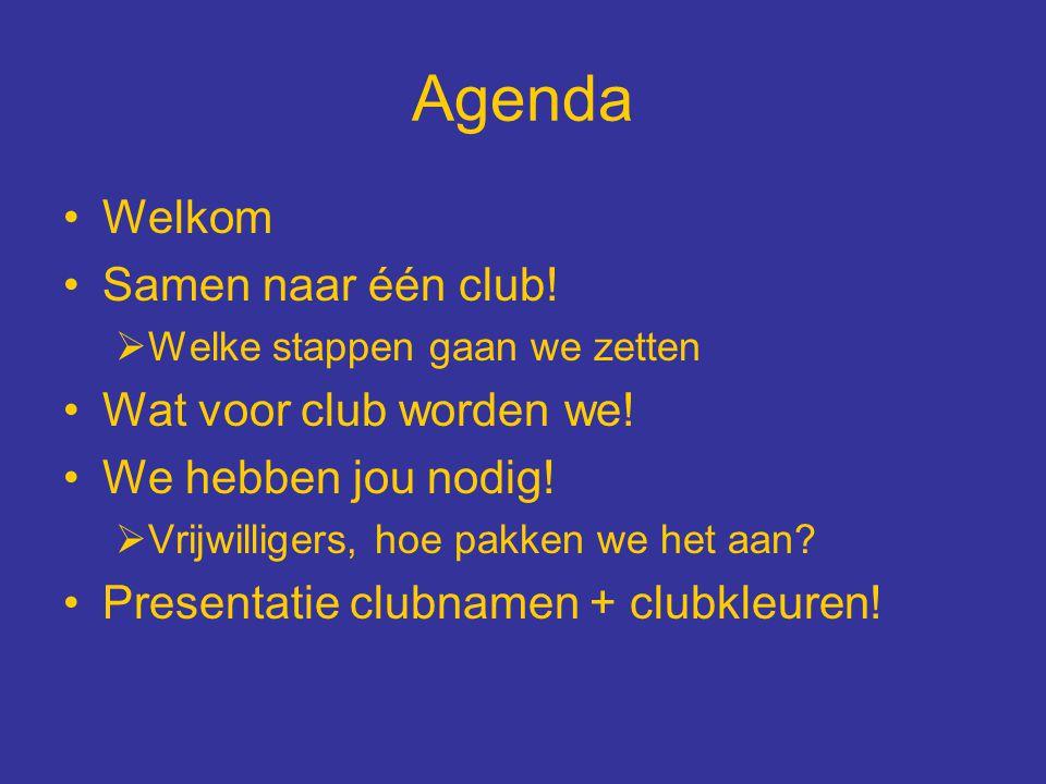Agenda Welkom Samen naar één club! Wat voor club worden we!