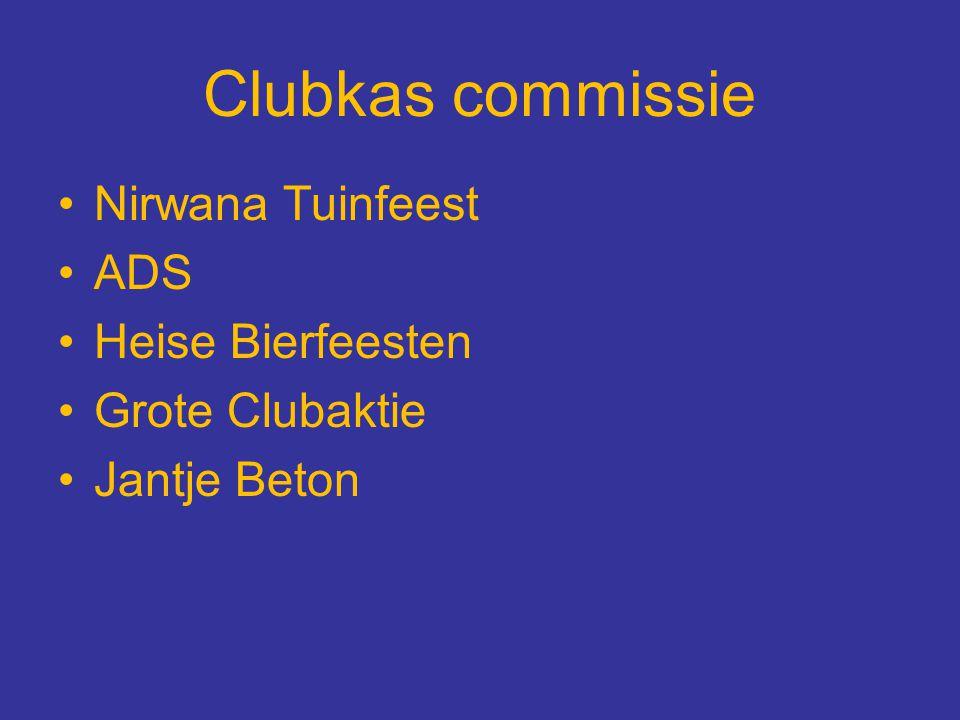 Clubkas commissie Nirwana Tuinfeest ADS Heise Bierfeesten